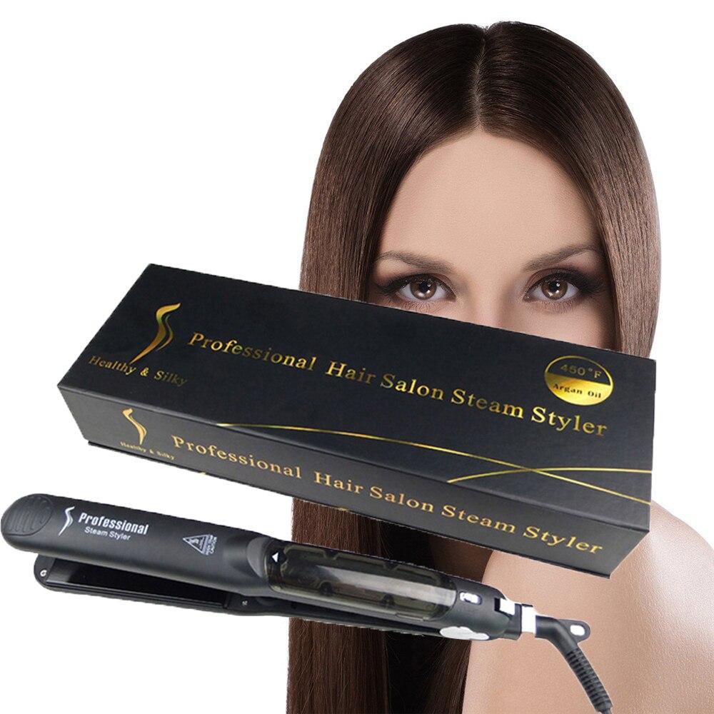 Steam Function Flat Iron Tourmaline Ceramic Vapor Professional Hair Straightener With Argan Oil Infusion Straightening Irons