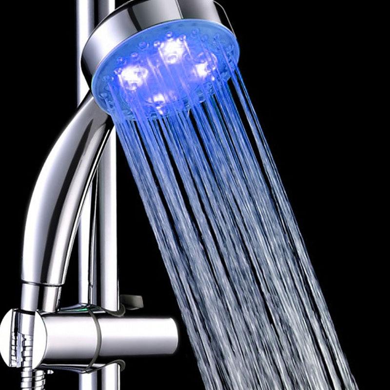 Alcachofa Ducha Led Shower Light 7 Color Head Single Round Head For Bath Silver Shower Lights