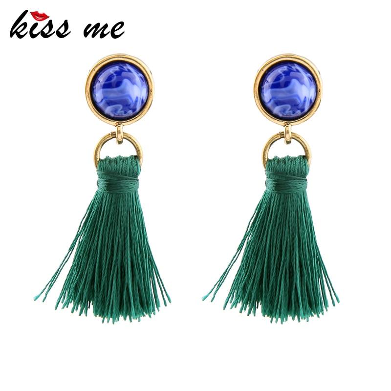 KISS ME Brand Green Black Tassel Earrings New Arrival Ethnic Jewelry for Women 2017 Drop Earrings