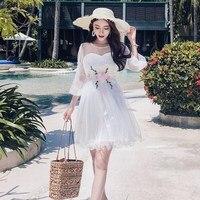 2018 New Women dress Lantern Sleeve Mesh Bali Manual 3 D Nail Flowerautiful Faery On Vacation Dresses Gray White 6030