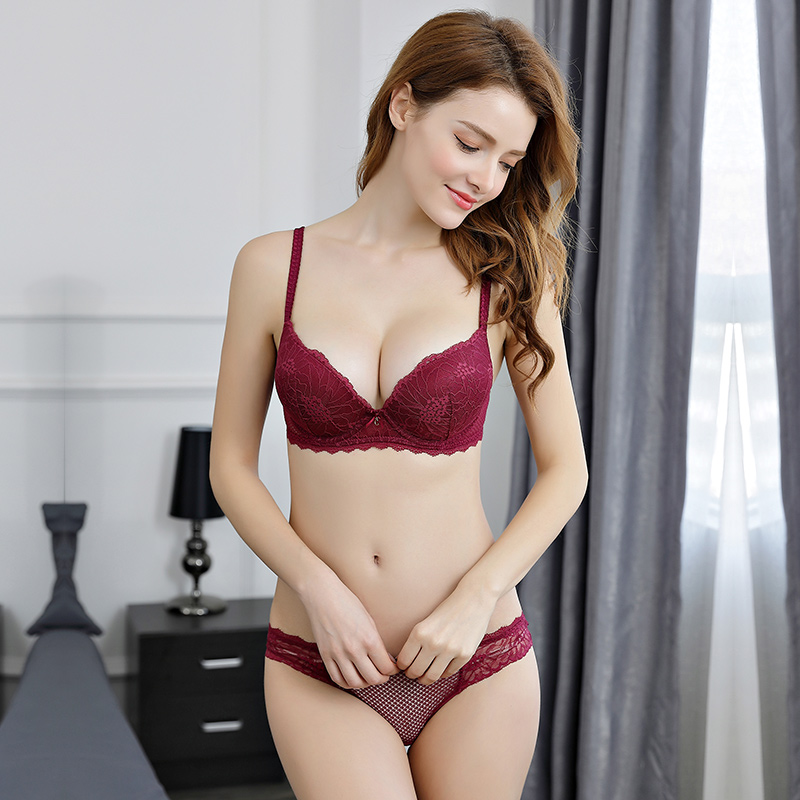OranriTing New Foral Lace Sexy Lingerie Set Push Up Bra And Panties Gather Adjustable Underwear Women ABC Cup Girl Intimates