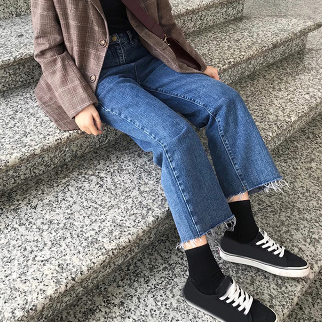 Jeans Denim Solid Tassel Lady Elegant Wide Leg Pant Ankle-length High Waist Womens Trousers Large Size Bottoms Basic Classic 3