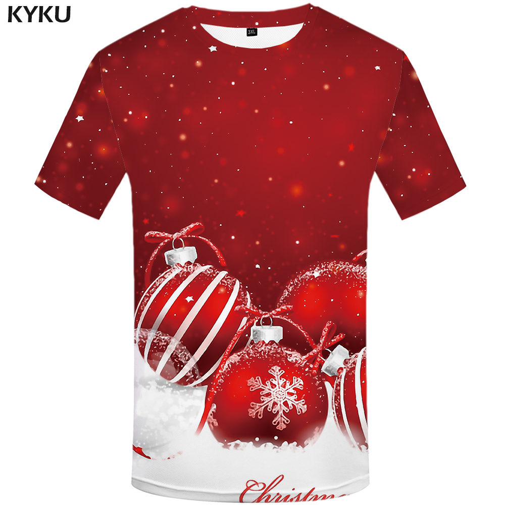 KYKU Christmas T-shirt Men Rock T-shirts Xmas 3d Print T Shirt Hip Hop Tshirt Snowflake Anime Clothes Red Party Mens Clothing