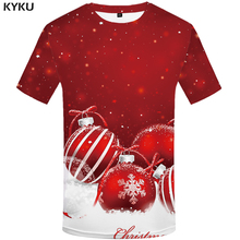 KYKU Christmas T-shirt Men Rock T-shirts Xmas 3d Print T Shirt Hip Hop Tshirt Snowflake Anime Clothes Red Party Mens Clothing
