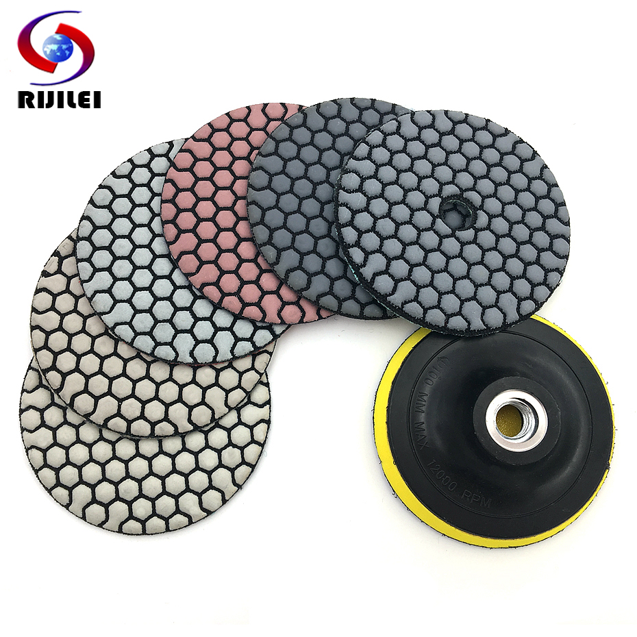 RIJILEI 6 Pcs/Set 3/4 Dry polishing pad Sharp type Flexible diamond polishing pad For Granite Marble Stone Sanding Disc HC03RIJILEI 6 Pcs/Set 3/4 Dry polishing pad Sharp type Flexible diamond polishing pad For Granite Marble Stone Sanding Disc HC03
