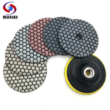 RIJILEI 6 Pcs/Set 3/4 Dry polishing pad Sharp type Flexible diamond For Granite Marble Stone Sanding Disc HC03