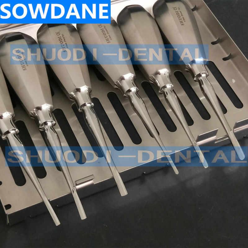 6 قطعة الفولاذ المقاوم للصدأ الأسنان مصعد الأسنان عن طريق الفم تخفيف طقم استخراج الجذر زرع الأسنان الحد الأدنى الغازية بدون صندوق