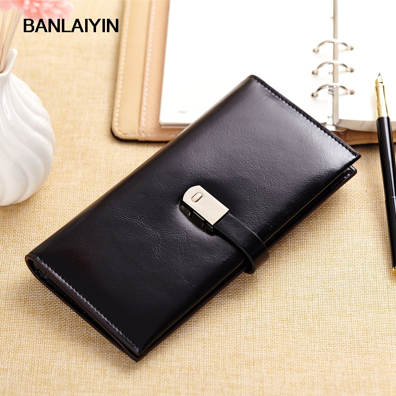 Fashion Oil Wax Leather Purse Women Genuine Leather Long Luxury Women Wallets Famous Brand Ladies Clutch Card Holder Purses