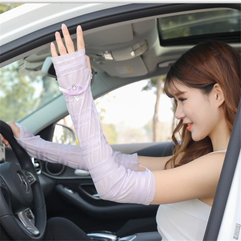 Women Fashion Fingerless Driving Arm Warmers Sun Sunscreen Sleeve Gloves Female Sports Half Finger Lace With Diamond Gloves A69
