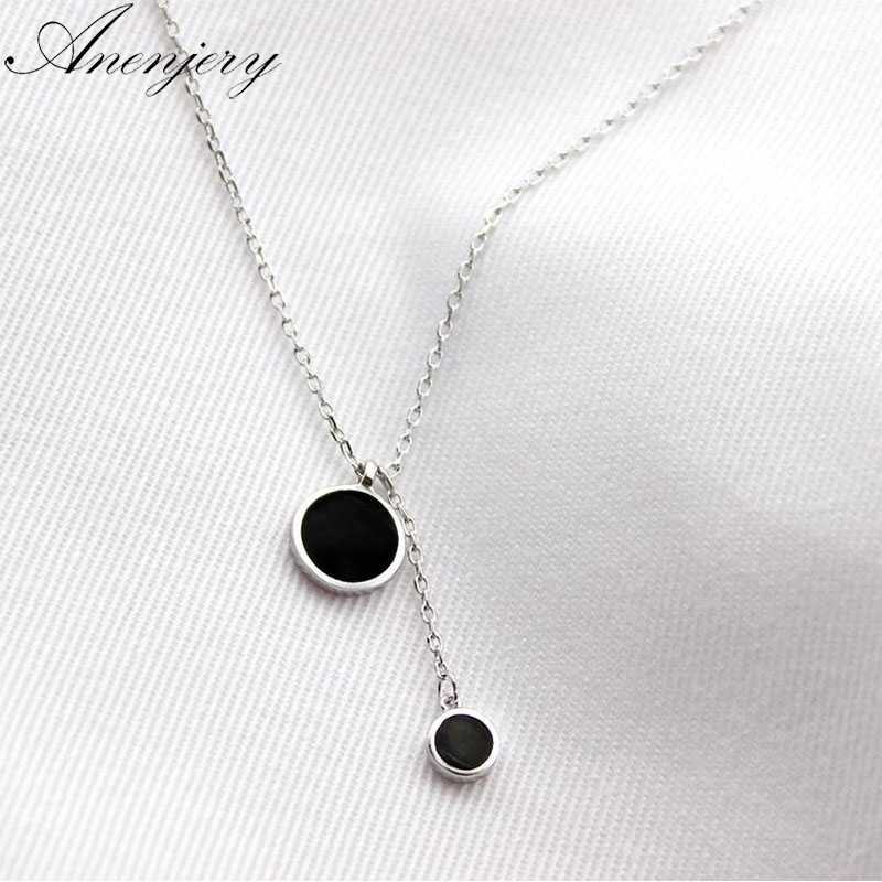Anenjery Simple Fashion 925 Sterling Silver Necklace Pendant Tassel Necklace For Women Girl Trendy Gift S-N27