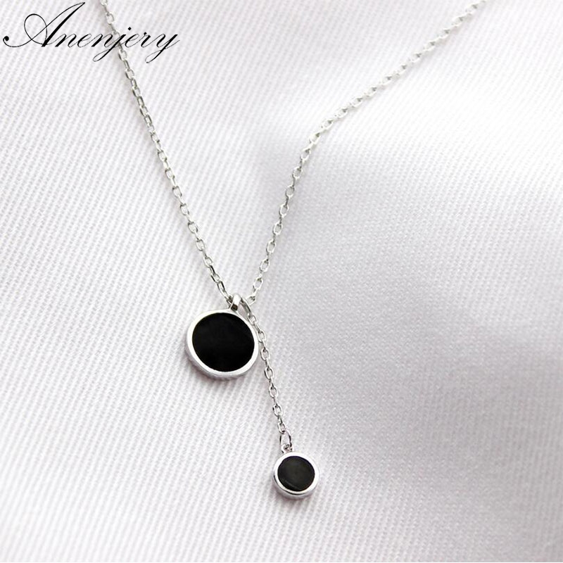 Anenjery Simple Fashion 925 Sterling Silver Necklace Pendant Tassel Necklace For Women Girl Trendy Gift S-n27 Jewelry & Accessories Chain Necklaces