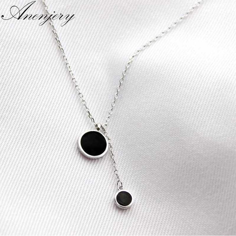 Anenjery بسيط موضة الفضة قلادة ملونة قلادة شرابة قلادة للنساء فتاة العصرية هدية S-N27