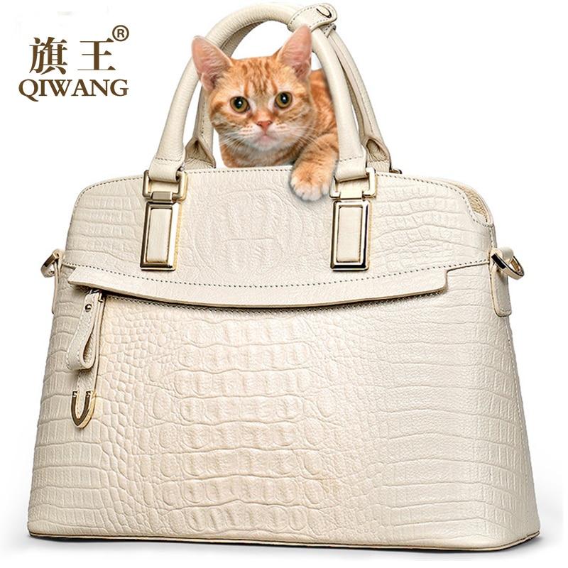 QIWANG Brand Women Bag Crocodile Leather Top Handle Bags Brand Women Designer Handbags 100% Genuine Leather Female Cow Bag цена