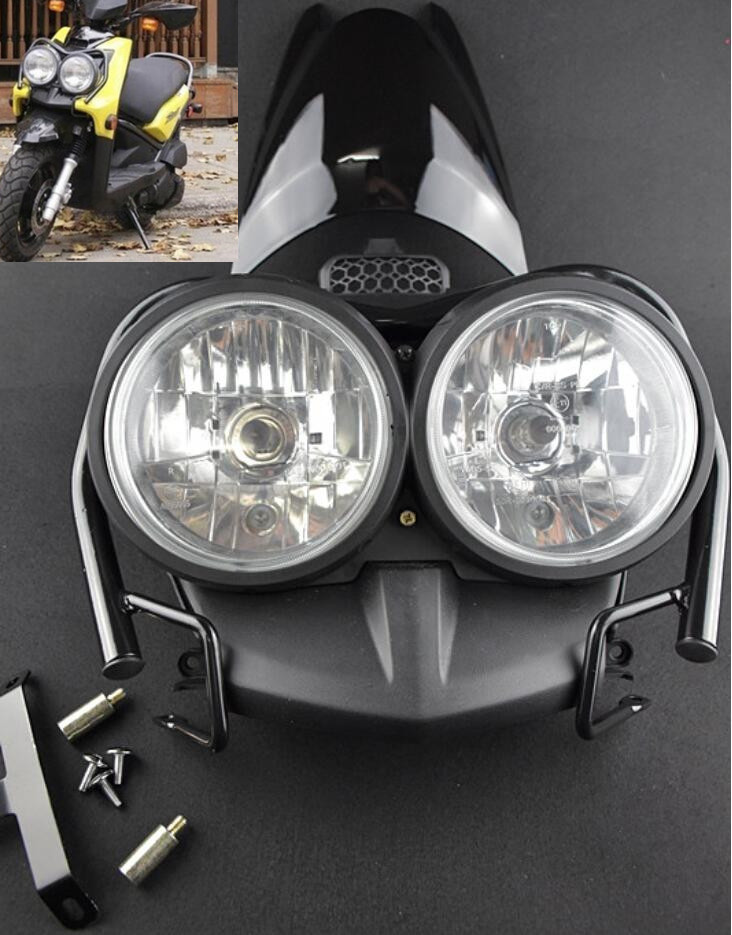 Front Bug Eyed Dual Head Light Lamp Headlight Headlamp + Upper Cover + Guard Set Black For YAMAHA Zuma BWS 125 YW125