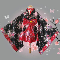 Japanese Anime Lolita Kawaii Sakura Festival Cosplay Japan Student Girl Kimono Big Bow Belt Yugata Maid Halloween Princess Dress