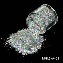 1 box Chameleon 3D Holographic Glitter Sequin Silver Nail Powder Irregular Flake Starry Foils Manicure Tips MGLS-A-01
