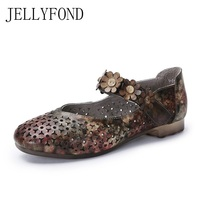 Camouflage Genuine Leather Designer Women Flats Vintage Cowhide Cuts Out Handmade Flower Female Loafers Leisure Shoes Woman