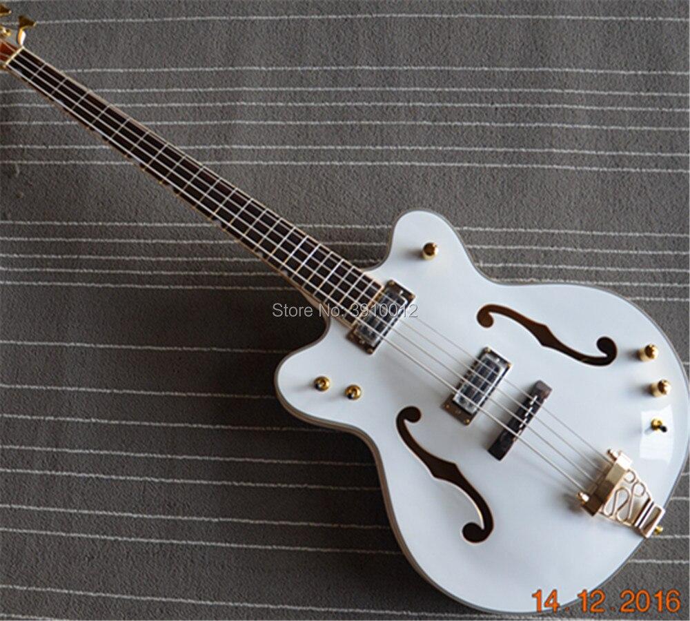 high quality 4 string electric bass guitar G6136LSB White Falcon jazz electiice guitar