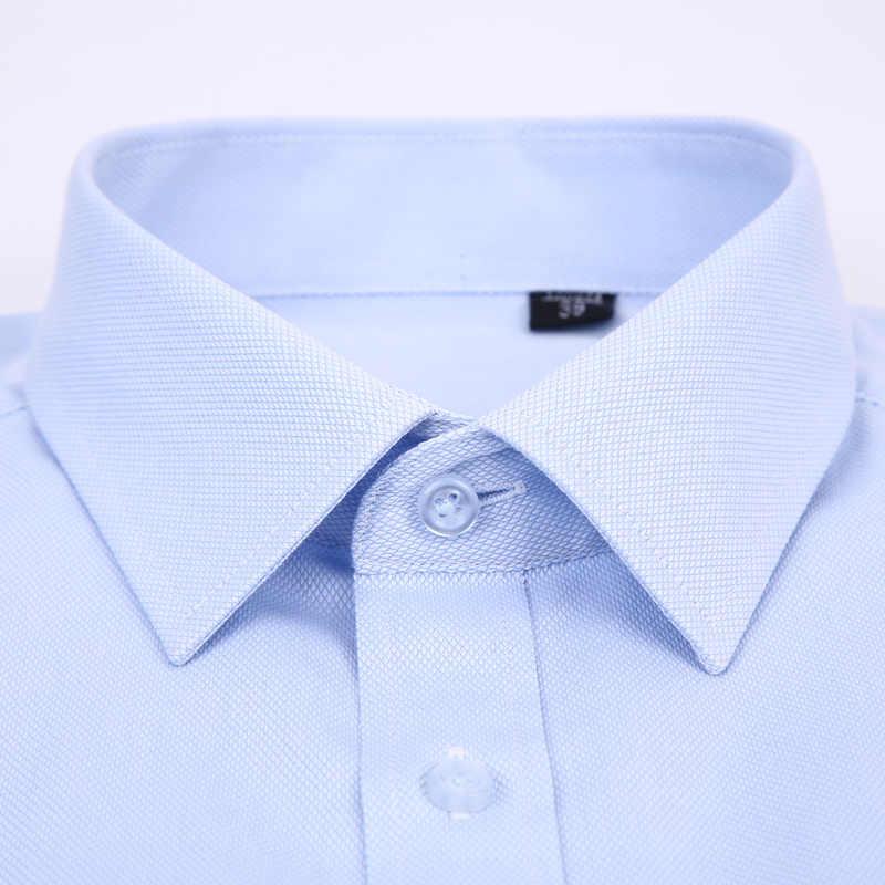 高品質非アイロン男性は長袖シャツ 100% 綿 2019 新固体男性プラスサイズフィットビジネスシャツ白青