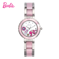 Barbie Brand Fashion Quartz Stainless steel Strap Watch Lady Gift Women Wristwatches Clock Delicate Girls Watch with Barbie logo