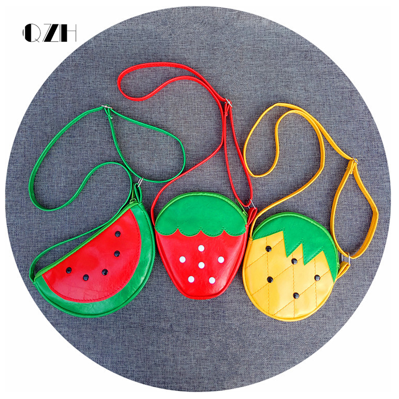 QZH Cartoon Kids Children Mini Bags Fruit Messenger Bags Coin Purse Pouch Handbags For Kindergarten Baby Girls Boys Shoulder Bag girls mini messenger bag cute plush cartoon kids baby small coin purses lovely baby children handbags kids shoulder bags bolsa