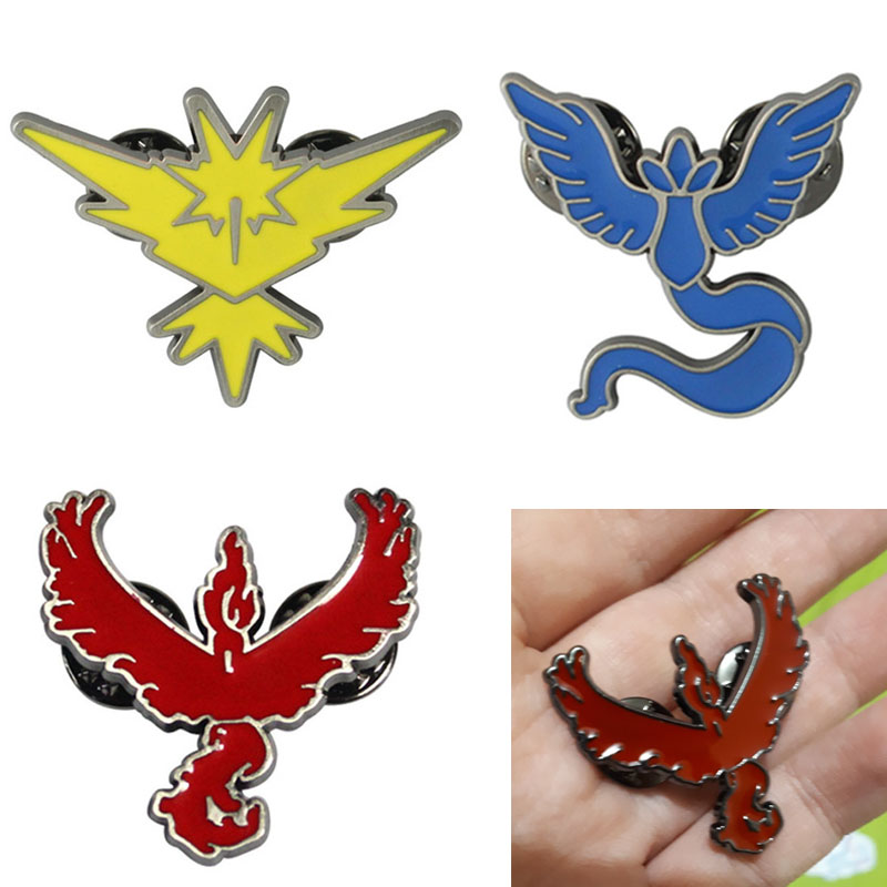 Pokemon Go Brooch Enamel Pin Cosplay Props Alloy Team Mystic Team Valor Team Instinct Badge Unisex Gifts
