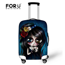 FORUDESIGNS Skull Design Protective Luggage Cover Dustproof Travel Luggage Cover Suit for 18-28 inch Case Elastic Suitcase Cover