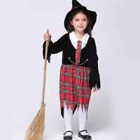 Halloween Cosplay Baby Witch Hat Dress Children Set Infant Girls Long Sleeves Clothes Festival Party Stage