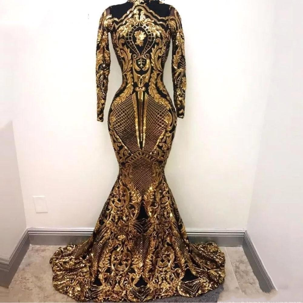 Gold and Black Mermaid   Prom     Dresses   2019 Sexy Sparkly Sequins Long Sleeve High Neck Women Evening   Prom   Party Gowns Black Girls