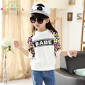 Spring Girls T-shirts Children Casual Leopard Long Sleeve Tops Fashion Letter Babe Kids Cotton High Quality Menina Clothes L267