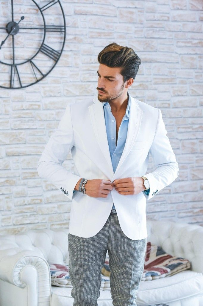 Casual White Men Suits Slim Fit Custom Groom Prom Tailored