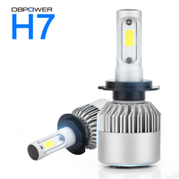 2PCS H7 LED H4 H11 H1 H3 9005 9006 COB S2 Auto Car Headlight 72W 8000LM