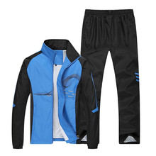 New Mens Set Spring Autumn Men Sportswear 2 Piece Sporting Suit Jacket+Pant Sweatsuit Male Tracksuit Plus Size L-5XL