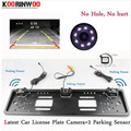 Koorinwoo EU European Car License Plate Frame camera Parking Car Rear View Camera 8IR Night Vision Two parking Sensor Reversing