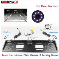 Koorinwoo EU European Car License Plate Frame camera Parking Car Rear View Camera 8IR Night Vision Two parking Sensor Reversing