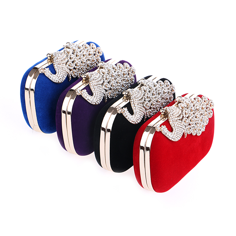 Crown or peacock rhinestone evening clutch in 14 options