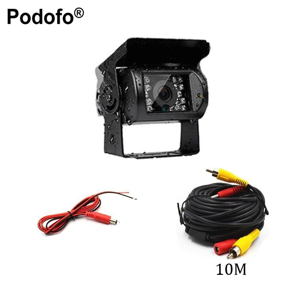 Podofo Universal Waterproof Car Rear View Camera Truck Backup Camera Heavy Duty 18 LED IR Night Vision 12V 24V (No Guide Line)