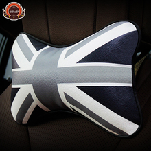 Top quality Car memory cotton neck pillow Seat Cushion Best PU Leather material headrest auto supplies freeshipping