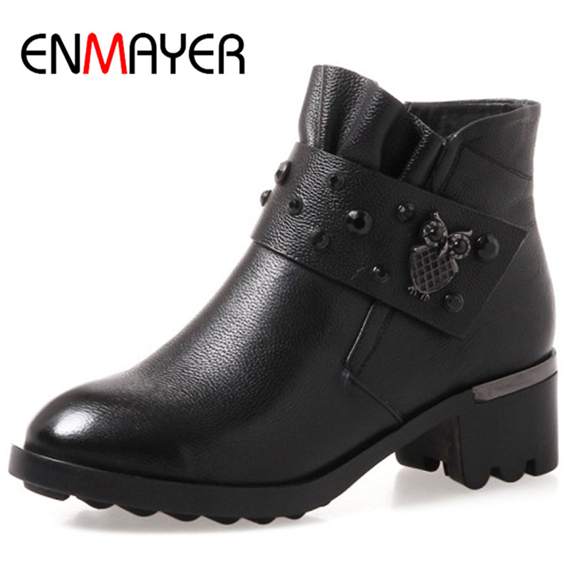 ENMAYER Square Heels Round Toe Ankle Boots for Women Plus Size 34-43 Genuine Leather Boots Winter Shoes Western Shoes Black enmayer shoes woman supper high heels ankle boots for women winter boots plus size 35 46 zippers motorcycle boots round toe