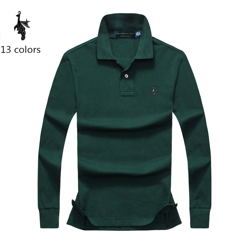Mens   Polo   Shirt Brands 2018 Male Long Sleeve Fashion Casual Slim Solid Digital Peacock   Polos   Men Jerseys 4XL