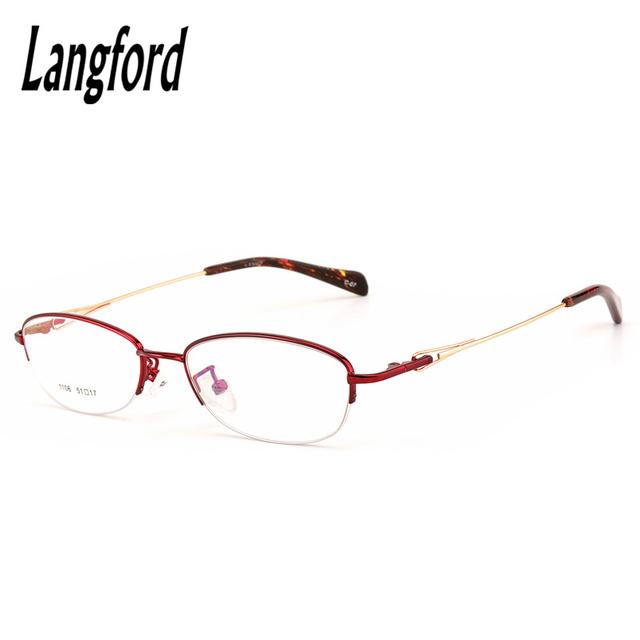 Marcos de los vidrios para las mujeres medio marco ovalado femenina femme luneta anteojos eyeware óptica flexible spectacle prescription1106