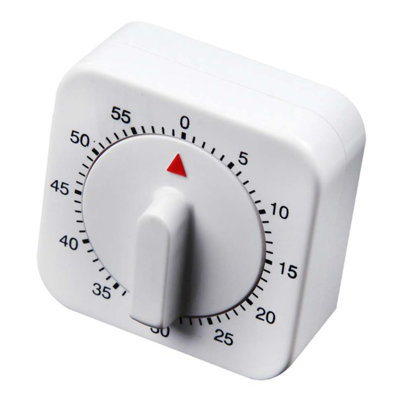 Effectived Novelty Alarm Clock for Kitchen White Square Mechanical Timer 60-Minute Reminder Counting Count Down H1