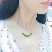 Certified Natural Hetian Jade Jasper Inlaid 18K Gold Lucky Bead Pendant Necklace Handmade Green High Quality Wonderful Gift
