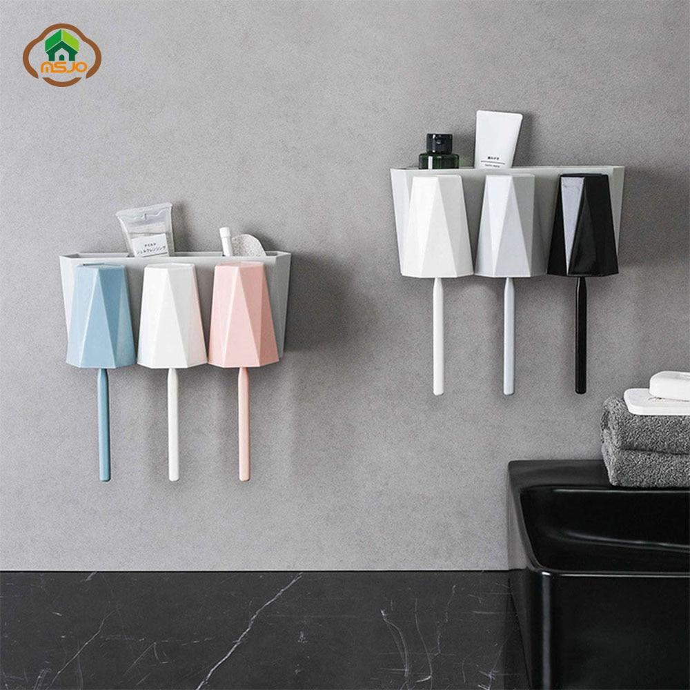 MSJO Tooth brush Holder Cup Wall-mounted Bathroom Accessories Set Storage Makeup Stand Hanger Rack TeethBrush holder