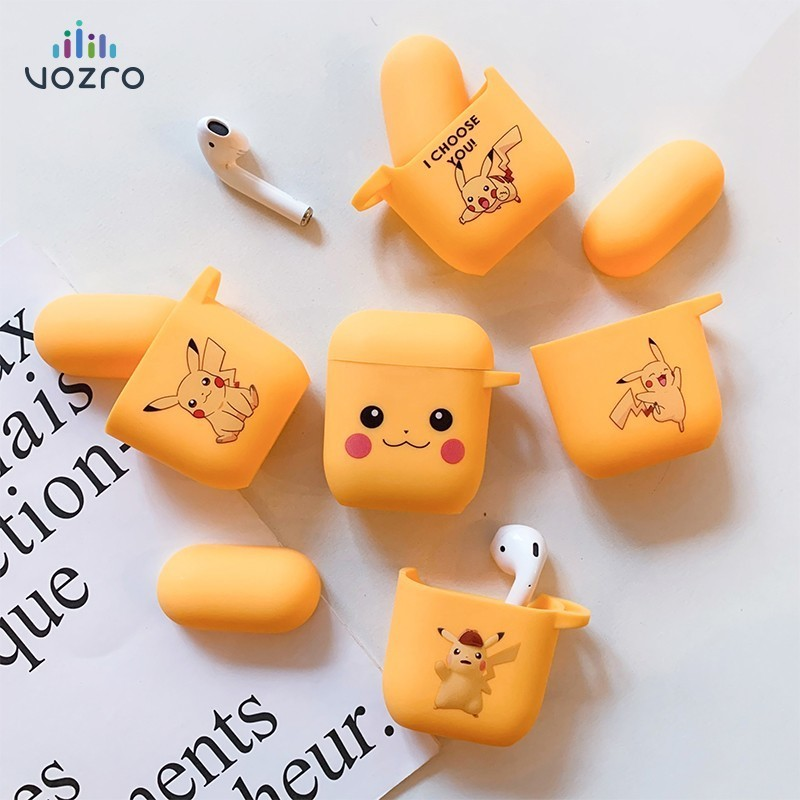 VOZRO Pokemon Pikachu Wireless Bluetooth Earphone Case For Apple AirPods Silicone Headphones Cases For Airpods2 Protective Cover
