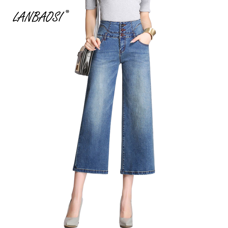 LANBAOSI JEANS Women s Cropped Jeans Wide Leg Tassel Mom High rise Ladies Palazzo Flare Blue