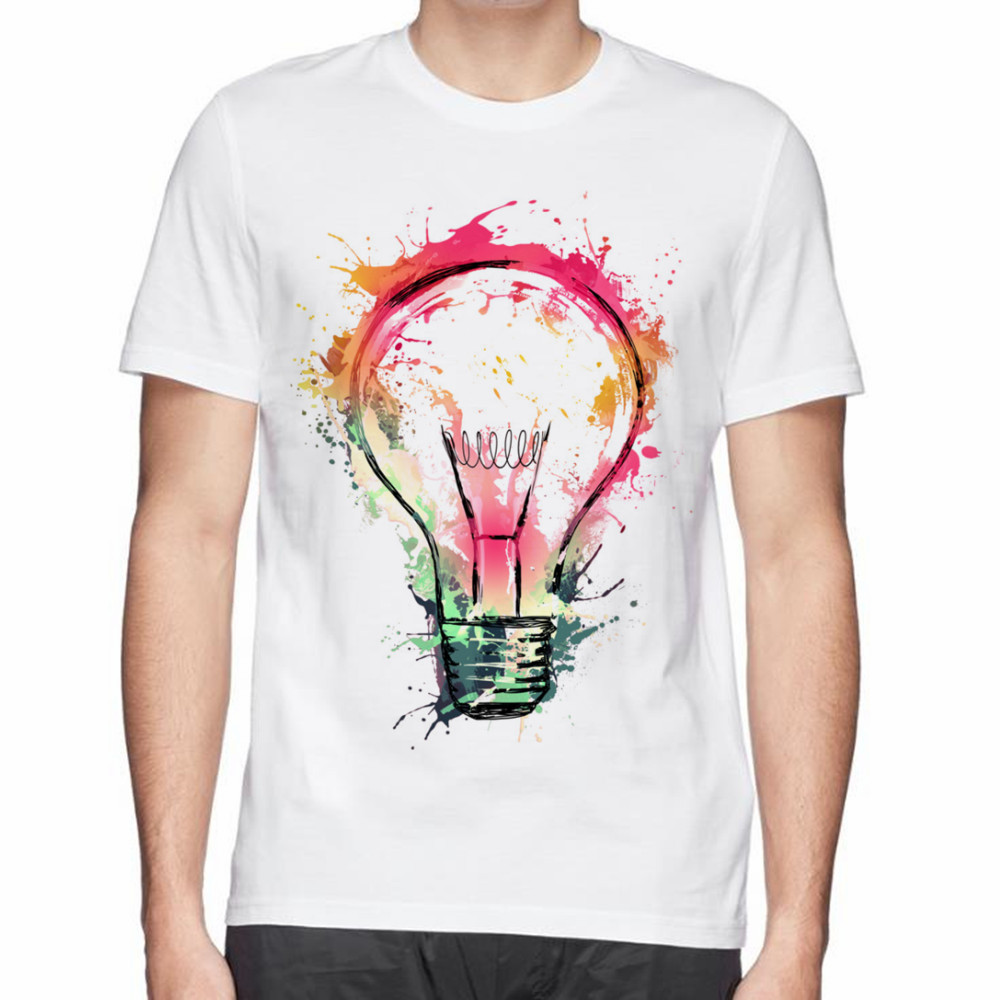 Design t shirt for cheap - Creative Design Splash Ideas Splash Electricity Bulb Print Men Summer Cotton T Shirt Good Quality Clothing
