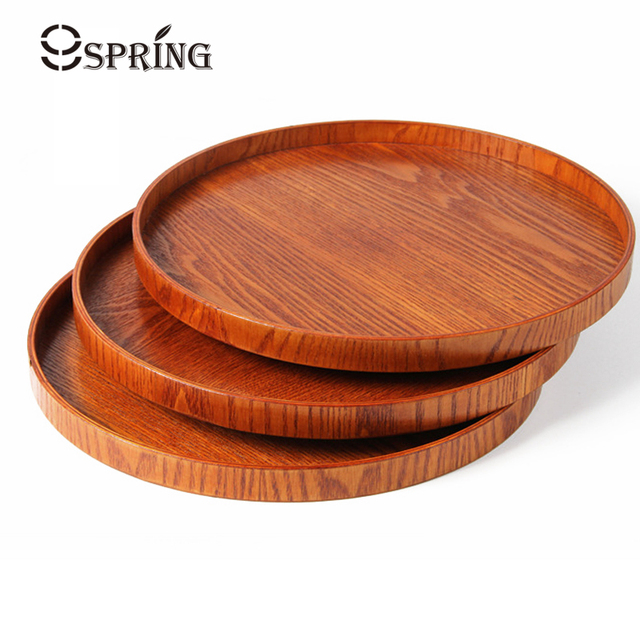 Large Round Wood Serving Tray Coffee Tea Wooden Snack Fruit Plate Bar Cafe Food
