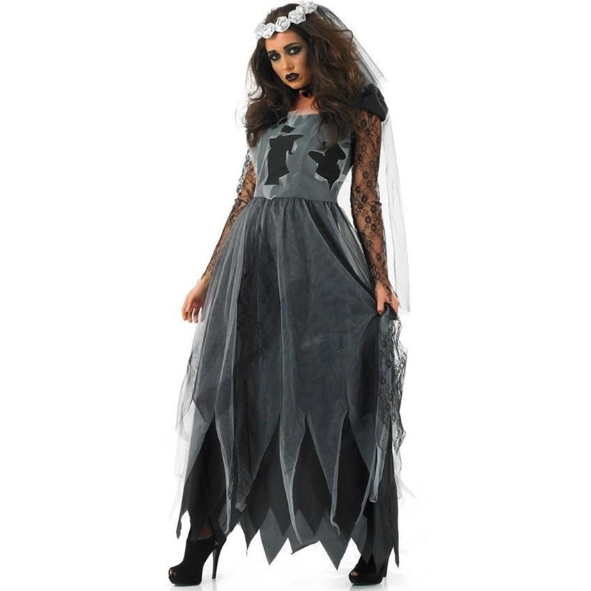 Vampire Zombie Halloween Costumes for Women Party Performance Black Witch Sexy Dress Scary Ghost Veil+Dress Set Clothing