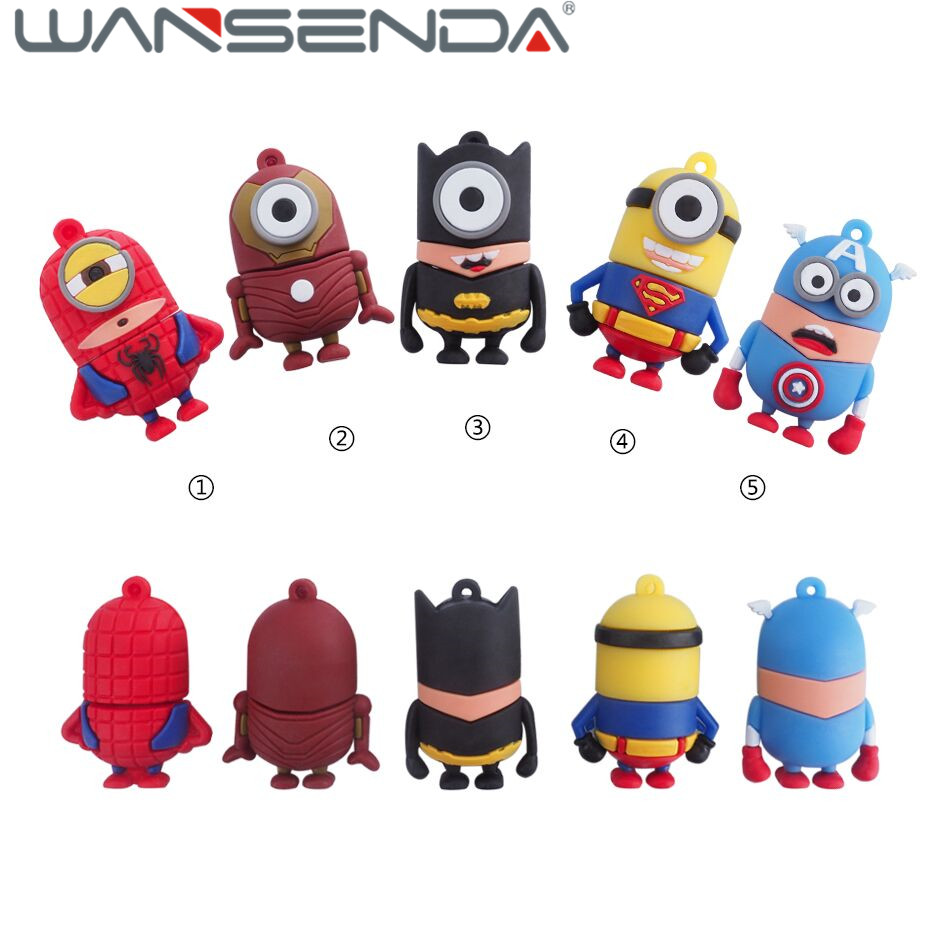 FULL capacity super hero usb flash drive 32GB 8GB 16GB 64GB 4GB pen drive super minions usb stick usb 2.0 flash disk pendrive 6 style cartoon usb flash drive pen drive super hero 128gb 64gb 32gb 16gb 8gb 4gb usb2 0 pendrive batman silicone usb stick gift